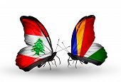 Two Butterflies With Flags On Wings As Symbol Of Relations Lebanon And Seychelles