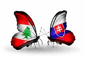 Two Butterflies With Flags On Wings As Symbol Of Relations Lebanon And Slovakia