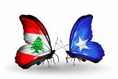 Two Butterflies With Flags On Wings As Symbol Of Relations Lebanon And Somalia