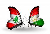 Two Butterflies With Flags On Wings As Symbol Of Relations Lebanon And Tajikistan