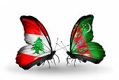 Two Butterflies With Flags On Wings As Symbol Of Relations Lebanon And Turkmenistan