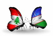 Two Butterflies With Flags On Wings As Symbol Of Relations Lebanon And Uzbekistan