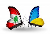 Two Butterflies With Flags On Wings As Symbol Of Relations Lebanon And Ukraine