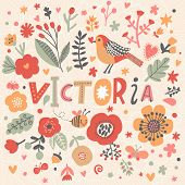 Bright card with beautiful name Victoria in poppy flowers, bees and butterflies. Awesome female name design in bright colors. Tremendous vector background for fabulous designs