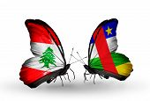 Two Butterflies With Flags On Wings As Symbol Of Relations Lebanon And Central African Republic