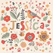 Bright card with beautiful name Jessica in poppy flowers, bees and butterflies. Awesome female name design in bright colors. Tremendous vector background for fabulous designs