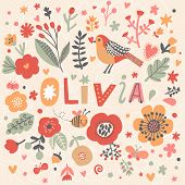 Bright card with beautiful name Olivia in poppy flowers, bees and butterflies. Awesome female name design in bright colors. Tremendous vector background for fabulous designs