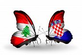 Two Butterflies With Flags On Wings As Symbol Of Relations Lebanon And Croatia