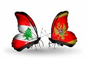 Two Butterflies With Flags On Wings As Symbol Of Relations Lebanon And Montenegro