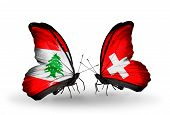 Two Butterflies With Flags On Wings As Symbol Of Relations Lebanon And Switzerland