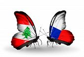 Two Butterflies With Flags On Wings As Symbol Of Relations Lebanon And Czech