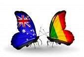 Two Butterflies With Flags On Wings As Symbol Of Relations Australia And Mali