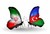 Two Butterflies With Flags On Wings As Symbol Of Relations Iran And Azerbaijan