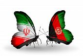 Two Butterflies With Flags On Wings As Symbol Of Relations Iran And Afghanistan