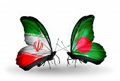 Two Butterflies With Flags On Wings As Symbol Of Relations Iran And Bangladesh
