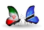 Two Butterflies With Flags On Wings As Symbol Of Relations Iran And Botswana