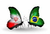 Two Butterflies With Flags On Wings As Symbol Of Relations Iran And Brazil