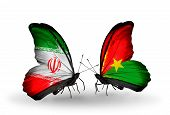 Two Butterflies With Flags On Wings As Symbol Of Relations Iran And Burkina Faso