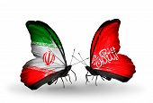 Two Butterflies With Flags On Wings As Symbol Of Relations Iran And Waziristan