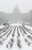 Heavy snowfall covering the National Museum on Wenceslas Square in Prague, Czech Republic.