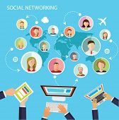 Social network flat design illustration blue background
