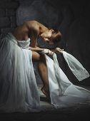 elegant slender woman with bare back