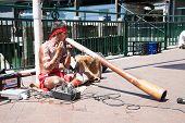SYDNEY-DECEMBER 20, 2014: Aborigin  performed their music at Sydney harbour in Sydney,Australia on 20 December 2014 . Aborigin is the local people of Australia.