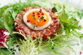 Beef tartare with egg in plate, close-up