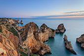 Sunrise On The Sea. Seascape Lagos, Algarve.