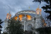 Ortakoy Mosque Closeup View Near Bosphorus Bridge In Istanbul Turkey 2015