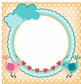 Frame with cute birds in love