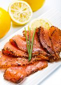 Smoked Salmon On White Dish With Chive