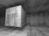 Abstract Dark Gray Concrete Room 3D Background