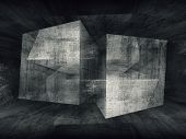 Abstract Dark Concrete Room 3D Background