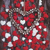 Valentine Day Background With Metal Bells Heart