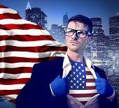 Superhero Businessman United States of America Flag Concept