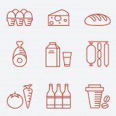 Dairy products, thin line style, flat design