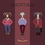 Symbols of Chinese New Year-goat and sheep in hipster clothes. Vector
