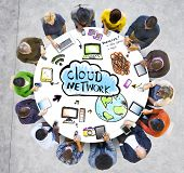 Multiethnic Group of People with Cloud Network Concept