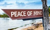 picture of peace-sign  - Peace of Mind wooden sign with a lake background - JPG