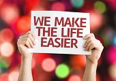 We Make the Life Easier card with colorful background with defocused lights