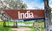 India wooden sign with rural background