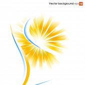 Yellow and blue vector background with sun burst effect
