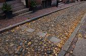 Crosswalk In Cobblestone Street