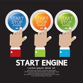 Hand Push Start-stop Engine Button Set