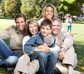 picture of recreate  - Happy family over park nature background - JPG