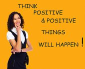 Positive thinking girl over abstract background. Positivity concept design.