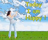 Positive happy woman on abstract design background.