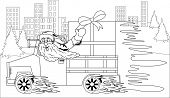 Illustration of Santa Claus driving car with Christmas gift