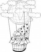 Santa Claus in a balloon with gifts and fir tree